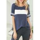 Casual Womens Striped Color Block Split Side Crew Neck Short Sleeve Relaxed Fit Tunic Tee Top