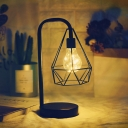 Black Gooseneck Table Lamp Modern Iron USB Charging LED Nightstand Lamp with Diamond/Globe Cage