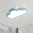 Kids Star and Cloud Flush Light Iron Kindergarten LED Ceiling Mounted Lamp in Pink/Blue