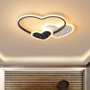 Cutouts Loving Heart Flush Light Modern Romantic Iron Pink/Black LED Ceiling Mount Lighting for Kids Bedroom