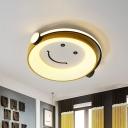 Child Hearing Music Acrylic Flush Mount Macaron Creative Yellow LED Close to Ceiling Light