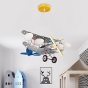Airplane Boy's Bedroom Ceiling Chandelier White Glass 4 Lights Kids Style Hanging Pendant in Blue