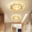 Faceted Crystal Flower Flush Light Fixture Modernist LED Chrome Close to Ceiling Lamp for Hallway
