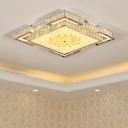 Crystal Square Semi Flush Mount Simple LED Ceiling Light Fixture in Chrome with Blossom Pattern