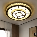 Clear Crystal Dual Round Ceiling Light Modern Style LED Chrome Flush Mount Fixture for Bedroom