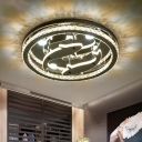 Minimal Ring Semi Flush Beveled Crystal LED Bedroom Ceiling Light Fixture in Chrome with Inner Dolphin Design