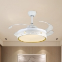Minimalist Round Fan Light Fixture Acrylic Living Room 4 Blades LED Semi Flush in White, 19