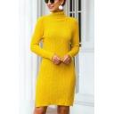 Elegant Ladies Solid Color Long Sleeve Turtleneck Slit Sides Midi Sheath Sweater Dress