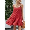Pretty Womens Solid Color Spaghetti Straps Ruffled Hem Short Trapeze Cami Dress in Burgundy