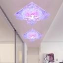 Clear Crystal Square Flush Mount Modernist 7
