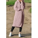 New Arrival Long Sleeve Hooded Open Front Knitted Maxi Cardigan