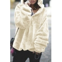 Warm Womens Solid Color Zipper Front Drawstring Hooded Long Sleeve Oversized Hoodie