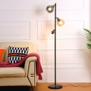 Simple 3 Bulbs Tree Floor Lamp Black Global Stand Up Light with Multicolored Glass Shade