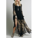 Boho Style Sheer Sleeve V Neck Floral Printed Split Front Hollow Out Back Chiffon Maxi Black Dress