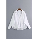 White Casual Solid Color Twist Front Single Breasted Turn-down Collar Long Sleeve Relaxed Fit High Low Shirt for Women