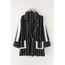 Fashionable Womens Striped Color Block Belted Two-Pocket Lapel Collar Long Sleeve Button Closure Loose Tunic Blazer in Black