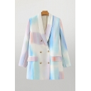 Trendy Womens Tie Dye Ombre Flap Pocket Shawl Collar Long Sleeve Double Breasted Relaxed Tunic Blazer in Blue