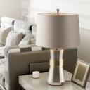Modernist Drum Night Lighting Fabric 1 Bulb Sleeping Room Table Lamp with Hourglass-Like Base in Nickel