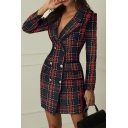 Womens Sexy Red and Green Plaid Print Long Sleeve Lapel Collar Double Breasted Slim Fit Classic Blazer Dress