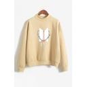 Fashion Kpop Logo Floral Printed Mock Neck Long Sleeve Loose Relaxed Sweatshirt
