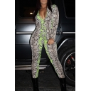 Vintage Womens 3D Jumpsuits Snakeskin Print Zipper-Front Ankle Length Deep V-Neck Skinny Fitted Long Sleeve Jumpsuits