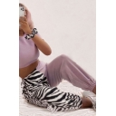 Womens Pants Fashionable Color Block Zebra Stripe Printed Elastic Waist Ankle Length Loose Fit Tapered Relaxed Pants