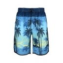 Mens Chic All Over Tiger Graphic Drawstring Waist Straight Shorts
