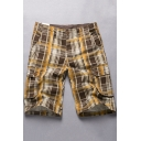 Men's Trendy Check Pattern Button Pocket Cotton Loose Casual Cargo Shorts (Pictures for Reference)