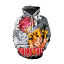 Black and White Comic Figure 3D Printed Long Sleeve Drawstring Pullover Hoodie