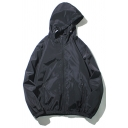 Mens Jacket Creative Solid Color Drawstring Zipper down Cuffed Long Sleeve Loose Fit Hooded Casual Jacket