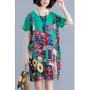 Ladies Vintage Floral Printed Short Sleeve Round Neck Linen and Cotton Mini Shift Dress