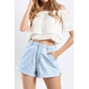 Basic Womens Blue Shorts Rolled Cuffs Zipper Fly Loose Fitted Wide Leg Denim Shorts