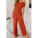 Womens Jumpsuits Unique Solid Color Waist-Controlled off Shoulder Wide Leg Loose Fitted Short Puff Sleeve Jumpsuits