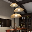 1 Light Dining Room Ceiling Lamp Rustic Beige Down Lighting Pendant with Wavy Dome Bamboo Shade, 14