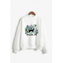 Athletic Ladies Cat Plant Letter Dieam on Graphic Print Mock Neck Long Sleeve Relaxed  Fit Pullover Sweatshirt