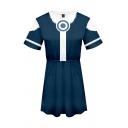 Popular Girls Contrasted 3D Patterned Short Sleeve Crew Neck Short A-line T Shirt Dress