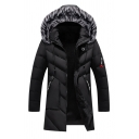 Mens Casual Letter M Applique Pocket Long Sleeve Fur Trimmed Hood Zip Up Black Longline Parka Down Coat