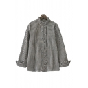 Chic Girls Checkered Long Sleeve Stringy Selvedge Long Sleeve Stand Collar Button-up Relaxed Fit Shirt Top in Black