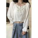 Lovely Girls Long Sleeve Square Neck Lace Up Patchwork Relaxed Fit Crop Blouse Top