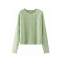 Casual Womens Solid Color Long Sleeve Crew Neck Cable Knit Loose Pullover Sweater