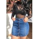 Womens Skirt Casual Medium Wash Front Button Detail Frayed Hem High Rise Mini Denim Bodycon Skirt