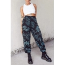 Stylish Womens Trousers Dragon Animal Printed Pocket High-rise Drawstring Waist Loose Fit Gathered Cuff Full Length Trousers