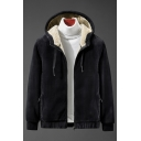 Novelty Mens Jacket Sherpa Lined Scratch-Resistant Rib Hem Inside Pockets Zipper down Long Sleeve Slim Fitted Hooded Casual Jacket