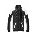 Classic Mens Jacket Contrasted Panel Quilted Detailing Zipper Detail Stand Collar Slim Fitted Long Sleeve Leather Jacket