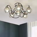 Black Global Ceiling Fixture Modernist 6 Lights Clear/Smoke Grey Glass Semi Flush Mount with Curvy Arm