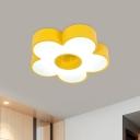 Flower Ceiling Lighting Modern Style Acrylic LED Bedroom Flush Mount Light in Yellow