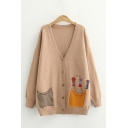 Leisure Girls Paw Embroidered Striped Patched Pockets Long Sleeve Button Down Loose Fit Cardigan