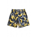 New Stylish Allover Banana Pattern Drawstring-Waist Men's Black Loose Fit Swim Shorts