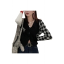 Chic Girls Knitted Rhombus Printed Patched Cut Out Long Sleeve V-neck Button Up Regular Fit Cardigan in Black