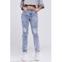 Women's Fancy Jeans Frayed High-rise Pockets Full Length Acid Wash Zip Closure Slim Fitted Jeans
